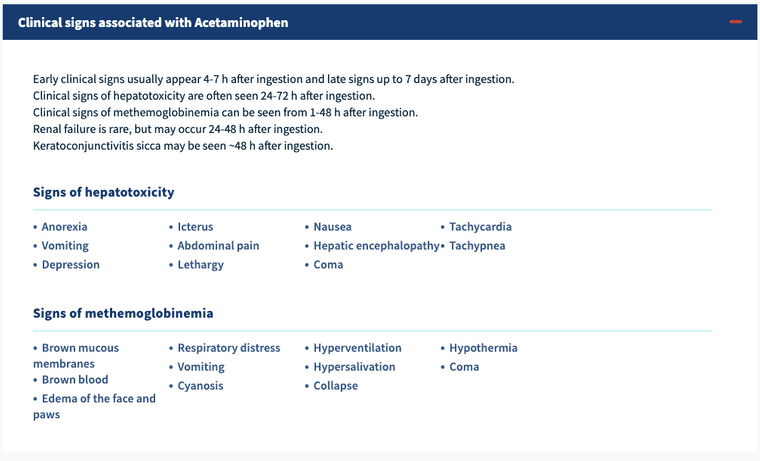ToxBuddy clinical signs